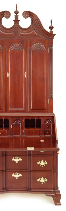 Newport Carved Desk and Bookcase